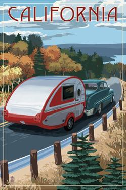 California - Retro Camper on Road by Lantern Press