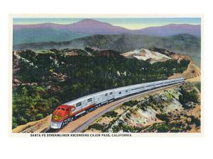 California - Santa Fe Streamliner Ascending Cajon Pass by Lantern Press