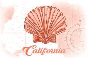 California - Scallop Shell - Coral - Coastal Icon by Lantern Press