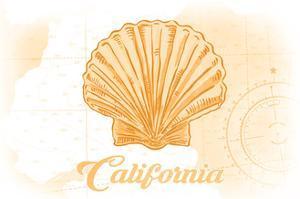 California - Scallop Shell - Yellow - Coastal Icon by Lantern Press
