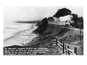 California - Southern Pacific Daylight Train Along the Pacific Coast by Lantern Press