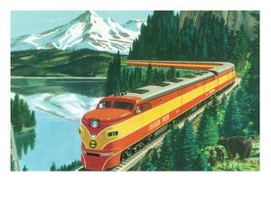 California - Southern Pacific Daylight Train Passing Mt Shasta by Lantern Press