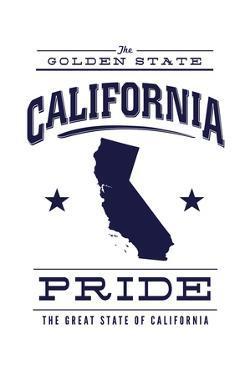 California State Pride - Blue on White by Lantern Press