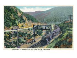 California - View of a Train in Cajon Pass by Lantern Press