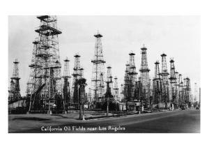 California - View of Oil Fields near Los Angeles by Lantern Press