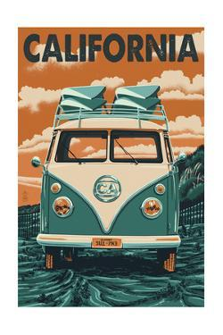 California - VW Van Blockprint by Lantern Press