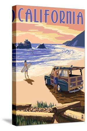 California - Woody on the Beach by Lantern Press