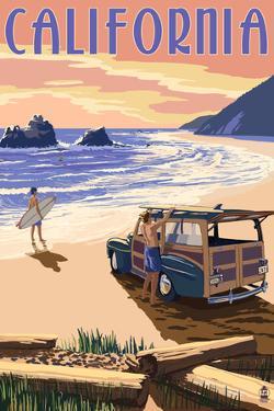 California - Woody on the Beach by Lantern Press