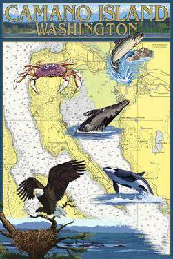 Camano Island, Washington - Nautical Chart by Lantern Press