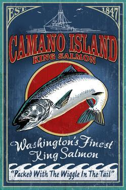 Camano Island, Washington - Salmon by Lantern Press