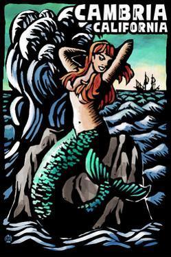 Cambria, California - Mermaid - Scratchboard by Lantern Press