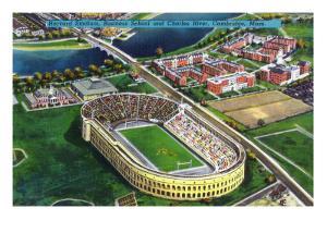 Cambridge, Massachusetts - Harvard University; Aerial of Stadium by Lantern Press
