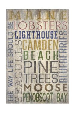 Camden, Maine - Barnwood Typography by Lantern Press
