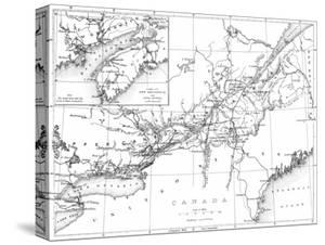 Canada, Detailed Map of Eastern Canada, New Brunswick, and Nova Scotia by Lantern Press