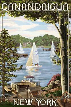 Canandaigua, New York - Lake View with Sailboats by Lantern Press