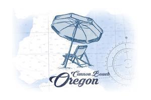 Cannon Beach, Oregon - Beach Chair and Umbrella - Blue - Coastal Icon by Lantern Press