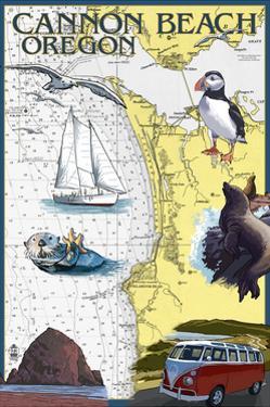 Cannon Beach, Oregon - Nautical Chart by Lantern Press