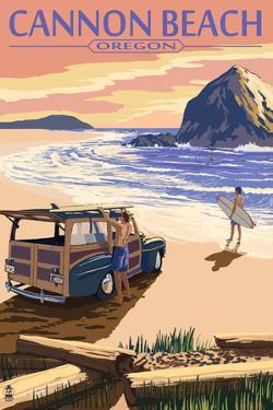 Cannon Beach, Oregon - Woody and Haystack Rock by Lantern Press