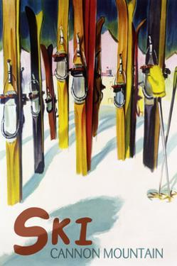 Cannon Mountain, New Hampshire - Colorful Skis by Lantern Press