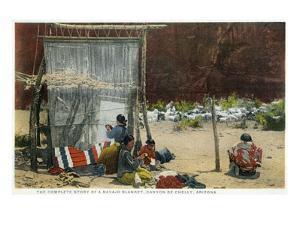 Canyon De Chelly, Arizona - View of Navajo Women Weaving Rug by Lantern Press