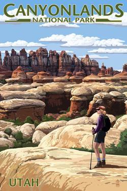 Canyonlands National Park, Utah - Hiker Scene by Lantern Press