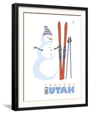 Canyons, Utah, Snowman with Skis by Lantern Press