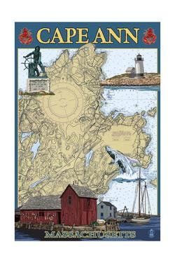 Cape Ann, Massachusetts - Nautical Chart #2 by Lantern Press