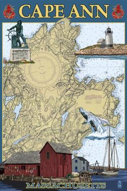 Cape Ann, Massachusetts - Nautical Chart #2 by Lantern Press