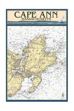 Cape Ann, Massachusetts - Nautical Chart by Lantern Press