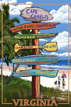 Cape Charles, Virginia - Destination Signpost- Lantern Press Poster by Lantern Press