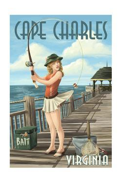 Cape Charles, Virginia - Fishing Pinup by Lantern Press