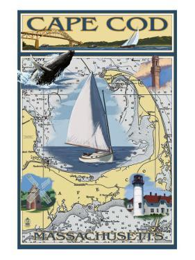 Cape Cod, Massachusetts Chart & Views by Lantern Press