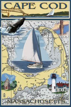 Cape Cod, Massachusetts Chart & Views by Lantern Press