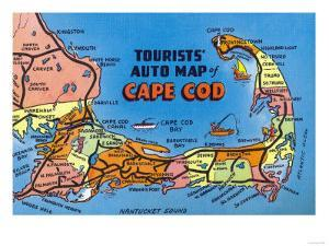 Cape Cod, Massachusetts - Detailed Auto Map of Cape Cod by Lantern Press