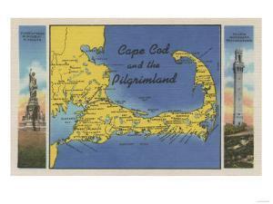 Cape Cod, Massachusetts - Detailed Map of the Pilgrimland by Lantern Press