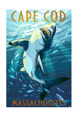 Cape Cod, Massachusetts - Great White Shark by Lantern Press