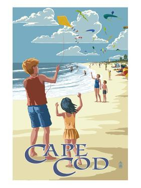Cape Cod, Massachusetts - Kite Flyers by Lantern Press