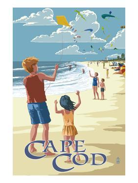 Cape Cod, Massachusetts - Kite Flyers by Lantern Press