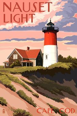 Cape Cod, Massachusetts - Nauset Light and Sunset by Lantern Press