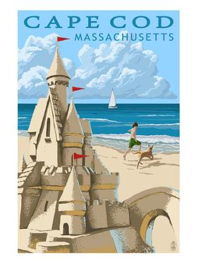 Cape Cod, Massachusetts - Sand Castle by Lantern Press