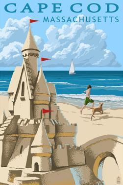Cape Cod, Massachusetts - Sand Castle by Lantern Press