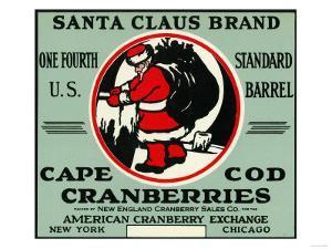 Cape Cod, Massachusetts - Santa Claus Brand Cranberry Label by Lantern Press
