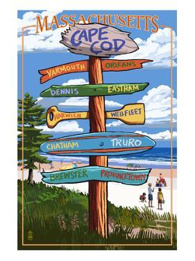 Cape Cod, Massachusetts - Sign Destinations by Lantern Press
