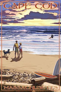 Cape Cod, Massachusetts - Sunset and Beach by Lantern Press