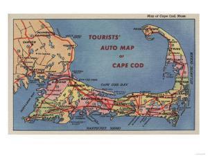 Cape Cod, Massachusetts - Tourists' Auto Map of Cape Cod by Lantern Press