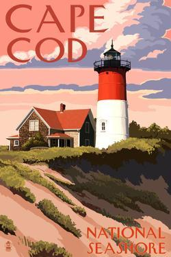Cape Cod National Seashore - Nauset Light and Sunset by Lantern Press