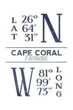 Cape Coral, Florida - Latitude and Longitude (Blue) by Lantern Press