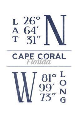 Cape Coral, Florida - Latitude and Longitude (Blue) by Lantern Press