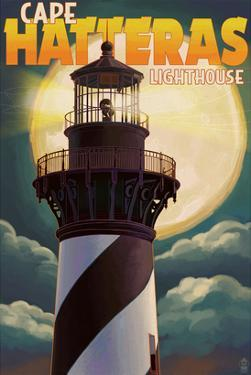 Cape Hatteras Lighthouse with Full Moon - Outer Banks, North Carolina by Lantern Press