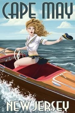 Cape May, New Jersey - Boating Pinup Girl by Lantern Press